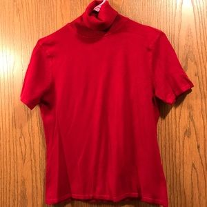 Red Short Sleeve Turtleneck